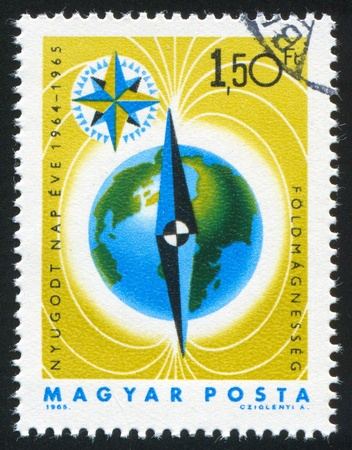 HUNGARY - CIRCA 1965: stamp printed by Hungary, shows Earth, circa 1965 Stock Photo - 11893289
