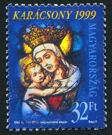 HUNGARY - CIRCA 1999: stamp printed by Hungary, shows madonna and child, circa 1999 Stock Photo - 11893463