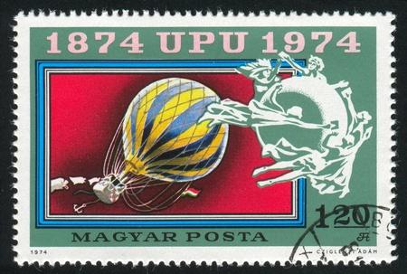 upu: HUNGARY - CIRCA 1974: stamp printed by Hungary, shows Balloon Post,  UPU Emblem, circa 1974
