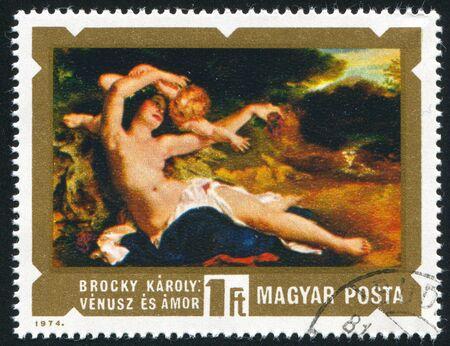 HUNGARY - CIRCA 1974: stamp printed by Hungary, shows Venus and Cupid, by Brocky, circa 1974 Stock Photo - 11893305