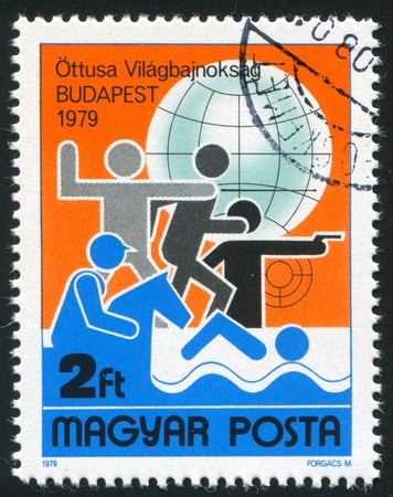 pentathlon: HUNGARY - CIRCA: 1979 stamp printed by Hungary, shows Pentathlon, circa 1979 Stock Photo
