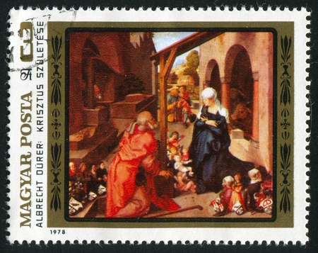 durer: HUNGARY - CIRCA 1978: stamp printed by Hungary, shows Nativity by Albrecht Durer, circa 1978