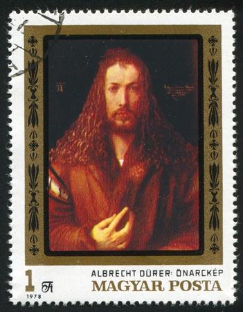 """durer: UNGHERIA - CIRCA 1978: timbro stampato da Ungheria, mostra """"Autoritratto"""" di Albrecht Durer, 1500, circa 1978 Editoriali"""