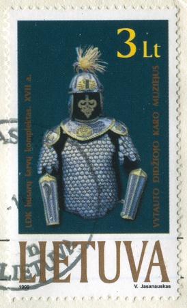 LITHUANIA CIRCA 1999: stamp printed by Lithuania, shows Hussar armor, circa 1999 Stock Photo - 11893283