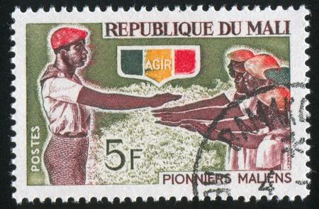 initiation: MALI CIRCA 1966: stamp printed by Mali, shows Initiation of Pioneers, circa 1966