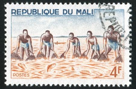 MALI CIRCA 1966: stamp printed by Mali, shows Group fishing with net, circa 1966 Stock Photo - 11893214