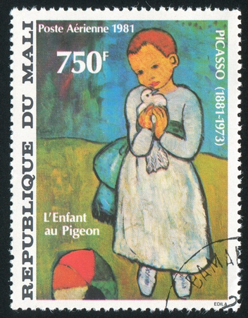 MALI CIRCA 1981: stamp printed by Mali, shows Child Holding a Dove, by Picasso, circa 1981