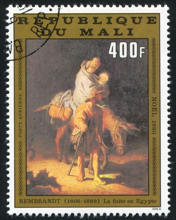rembrandt: MALI CIRCA 1980: stamp printed by Mali, shows Flight to Egypt, by Rembrandt, circa 1980