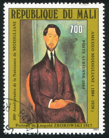 MALI CIRCA 1984: stamp printed by Mali, shows Portrait of Leopold Zborowski, by Modigliani, circa 1984 Stock Photo - 11893477