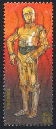 UNITED STATES - CIRCA 2007: stamp printed by United states, shows Star Wars, C-3PO, circa 2007 Editorial