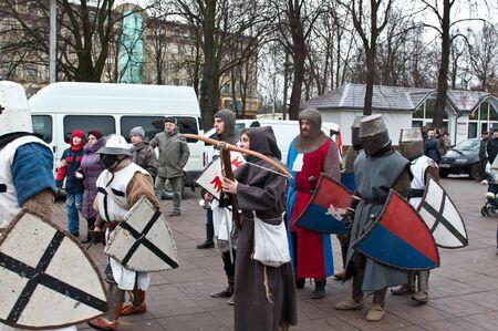 arbalest: KALININGRAD - JANUARY 8: historical reconstruction knightly battle, January 8, 2012 in Kaliningrad, Russia