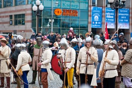 KALININGRAD - JANUARY 8: historical reconstruction knightly battle, January 8, 2012 in Kaliningrad, Russia Stock Photo - 11952250