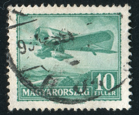 monoplane: HUNGARY - CIRCA 1931: stamp printed by Hungary, shows Monoplane over Danube Valley, circa 1931