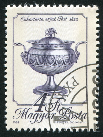HUNGARY - CIRCA 1988: stamp printed by Hungary, shows sugar bowl, circa 1988 photo