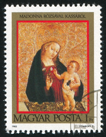 HUNGARY - CIRCA  1983: stamp printed by Hungary, shows Madonna with rose and child, circa 1983