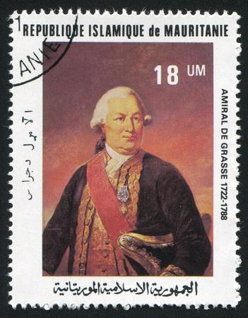 MAURITANIA - CIRCA 1981: stamp printed by Mauritania, shows Admiral de Grasse, circa 1981