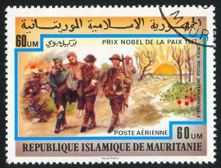 vintage riffle: MAURITANIA - CIRCA 1977: stamp printed by Mauritania, shows International Red Cross Society, circa 1977 Editorial