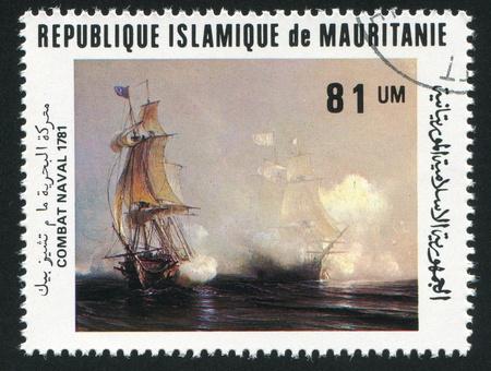 ketch: MAURITANIA - CIRCA 1981: stamp printed by Mauritania, shows Battle of Chesapeake Bay, circa 1981
