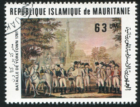 MAURITANIA - CIRCA 1981: stamp printed by Mauritania, shows Battle of Yorktown Bicentenary, circa 1981 photo