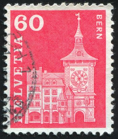 SWITZERLAND - CIRCA 1960: stamp printed by Switzerland, shows Clock Tower, Berne, circa 1960. photo
