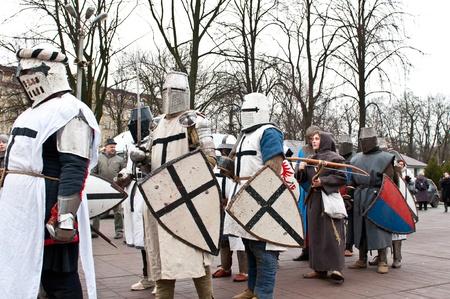 KALININGRAD - JANUARY 8: historical reconstruction knightly battle, January 8, 2012 in Kaliningrad, Russia Stock Photo - 12058474