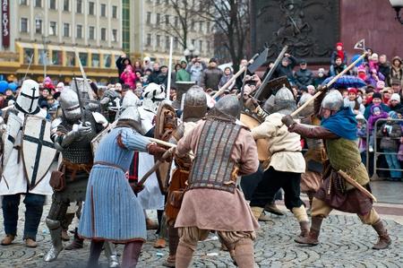 KALININGRAD - JANUARY 8: historical reconstruction knightly battle, Battle of Lake Peipus, January 8, 2012 in Kaliningrad, Russia Stock Photo - 12058475