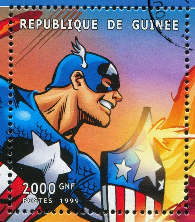 GUINEA - CIRCA 1999: stamp printed by Guinea, shows Captain America, circa 1999