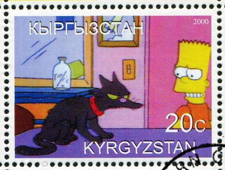 simpson: KYRGYZSTAN - CIRCA 2000: stamp printed by Kyrgyzstan, shows  Bartholomew Jo-Jo Simpson, circa 2000.