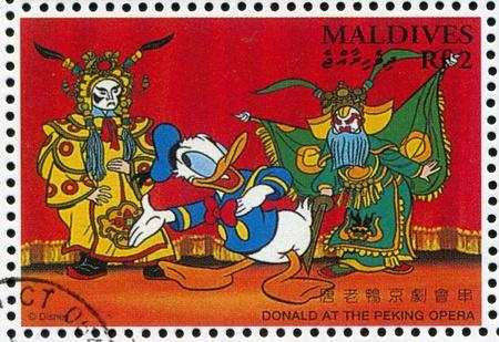donald: MALDIVE ISLANDS - CIRCA 1996: stamp printed by Maldive Islands, shows Donald at Peking Opera, circa 1996