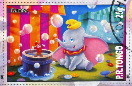 TONGO - CIRCA 2011: stamp printed by Tongo, shows Walt Disney cartoon character, Dumbo, circa 2011