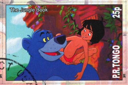 TONGO - CIRCA 2011: stamp printed by Tongo, shows Walt Disney cartoon character, The Jungle Book, circa 2011