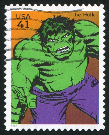 marvel: UNITED STATES - CIRCA 2007: stamp printed by United states, shows Hulk, circa 2007