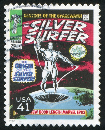 silver surfer: UNITED STATES - CIRCA 2007: stamp printed by United states, shows Silver Surfer, circa 2007