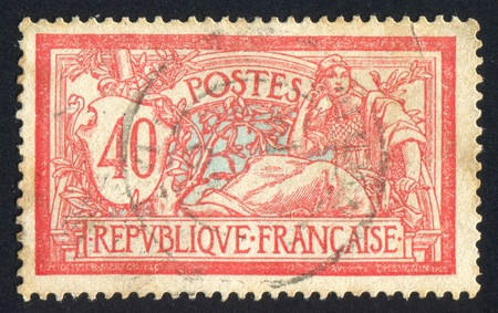 FRANCE - CIRCA 1910: stamp printed by France, shows peace and liberty, circa 1910 photo