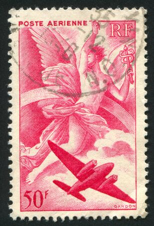 FRANCE - CIRCA 1946: stamp printed by France, shows Iris and Plane, circa 1946 Stock Photo - 12117196