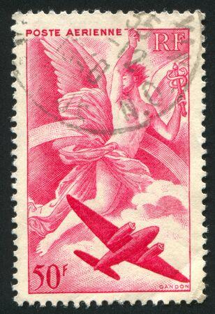 mercury staff: FRANCE - CIRCA 1946: stamp printed by France, shows Iris and Plane, circa 1946