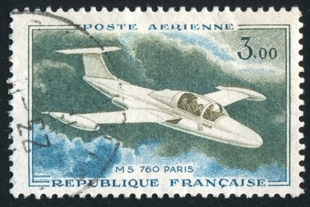 "FRANCE - CIRCA 1960: stamp printed by France, shows plane MS760 ""Paris"", circa 1960 Stock Photo - 12118995"