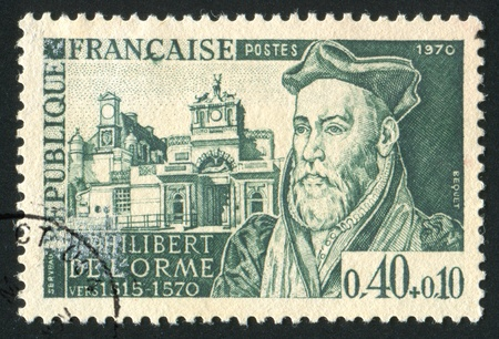 FRANCE - CIRCA 1970: stamp printed by France, shows Philibert Delorme, Architect, and Chateau dAnet, circa 1970