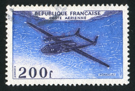 FRANCE - CIRCA 1954: stamp printed by France, shows plane Noratlas, circa 1954 Stock Photo - 12117199