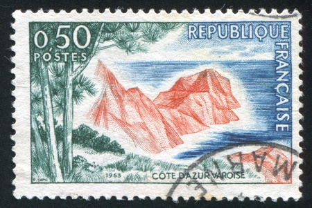 azur: FRANCE - CIRCA 1963: stamp printed by France, shows Cote d'Azur Varoise, circa 1963