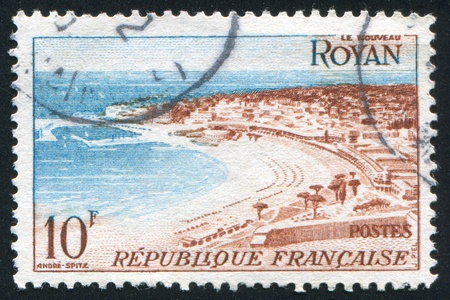 FRANCE - CIRCA 1954: stamp printed by France, shows beach at Royan, circa 1954 Stock Photo - 12118982
