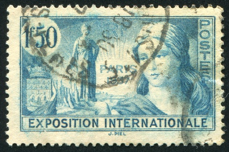 FRANCE - CIRCA 1937: stamp printed by France, shows Exposition Allegory, circa 1937 photo
