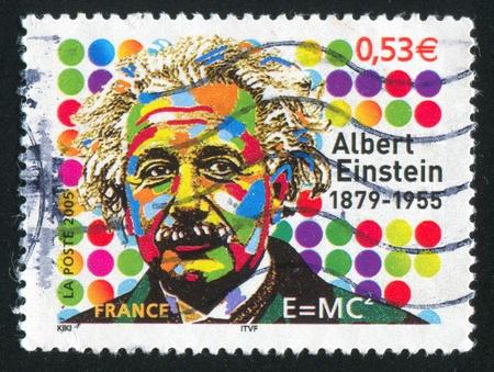 einstein: FRANCE - CIRCA 2005: stamp printed by France, shows Albert Einstein (1879-1955), Physicist, circa 2005