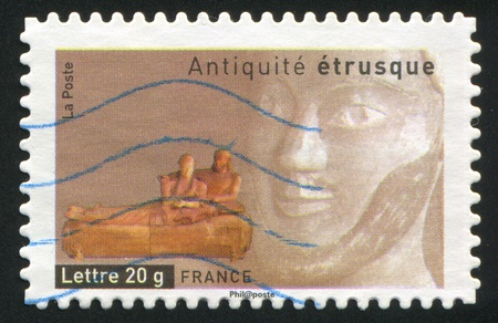 FRANCE - CIRCA 2007: stamp printed by France, shows Etruscan Sarcophagus of Husband and Wife, circa 2007 Stock Photo - 12118941