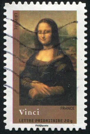 FRANCE - CIRCA 2008: stamp printed by France, shows Mona Lisa or La Gioconda. Louvre, Paris, France, circa 2008