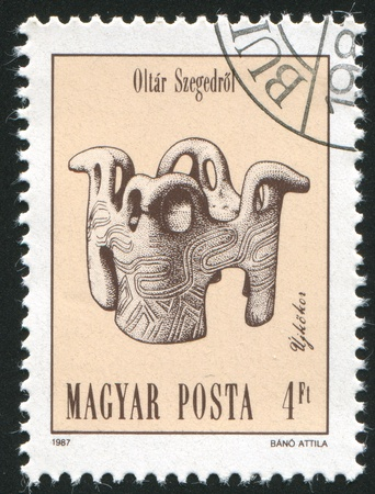 neolithic: HUNGARY - CIRCA 1987: stamp printed by Hungary, shows Altar, Neolithic and Copper Age Artefact, circa 1987