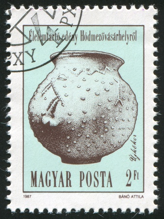 funerary: HUNGARY - CIRCA 1987: stamp printed by Hungary, shows Urn, Neolithic and Copper Age Artefact, circa 1987