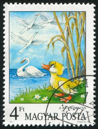 ugly duckling: HUNGARY - CIRCA 1987: stamp printed by Hungary, shows Fairy Tale The Ugly Duckling, by Hans Christian Andersen, circa 1987