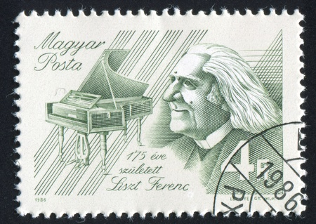 HUNGARY - CIRCA 1986: stamp printed by Hungary, shows Franz Liszt, Composer, piano, circa 1986 Stock Photo - 12117028