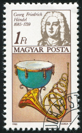 HUNGARY - CIRCA 1985: stamp printed by Hungary, shows Frederic Handel (1685-1759), kettle drum, horn, circa 1985